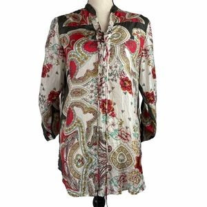 Johnny Was Silk Top Laced Chest Floral Paisley